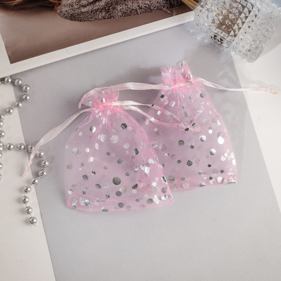 """Pouch gift """"Bubbles"""" 10*12, color pink with silver"""