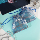 "Gift bag ""Cage"" 10*12, color blue with silver"