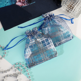 Мешочек подарочный 'Клетка' 10*12, цвет с синий с серебром Ош