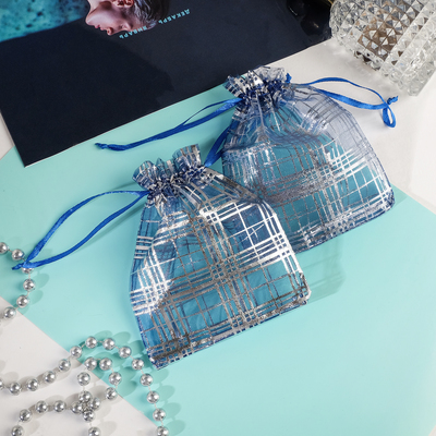 """Gift bag """"Cage"""" 10*12, color blue with silver"""