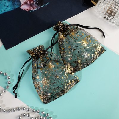 """Gift bag """"Star flash"""" 10*12, color black with gold"""