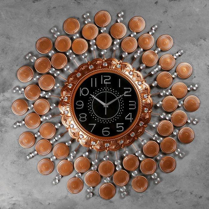 """Часы настенные, серия: Ажур, """"Ничето""""  d=70 см, d=24 см, 1 АА, плавный ход - фото 7931270"""