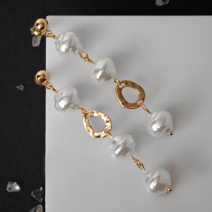 """Серьги с жемчугом """"Жасмин"""" неравные кольца, цвет белый в золоте - фото 486807"""