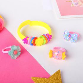 """Набор детский """"Выбражулька"""" 4 предмета: браслет, 3 кольца, ассорти, форма МИКС, цвет МИКС в Донецке"""