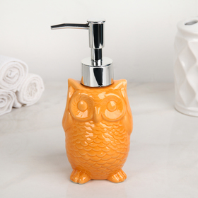 Дозатор для жидкого мыла «Совушка», 250 мл, цвет оранжевый