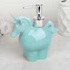 Дозатор для жидкого мыла «Единорог», 300 мл, цвет голубой - фото 1603222