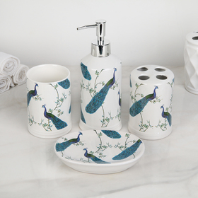 "Bath set ""Peacocks"", 4 piece (soap dish, soap dispenser, 2 cups)"