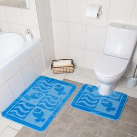 Набор ковриков для ванны и туалета «Витой», 2 шт: 40×50, 50×80 см, цвет МИКС