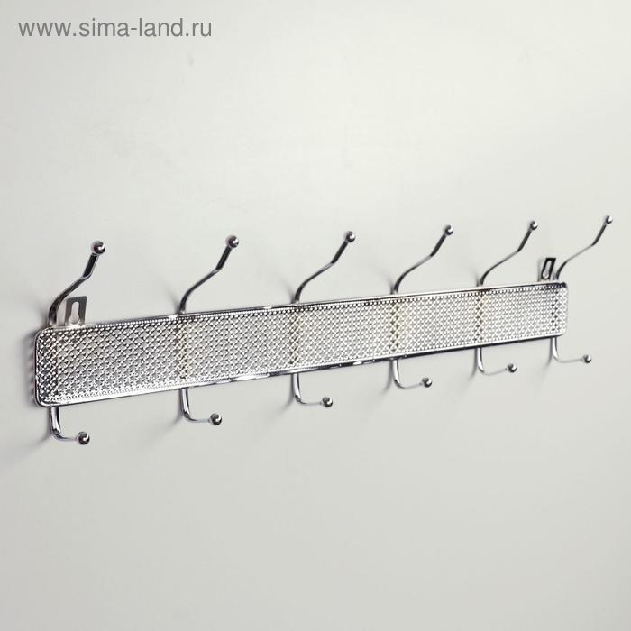 """Hanger 6 double hooks 53х13х5,6 cm """"Shah"""" color chrome"""