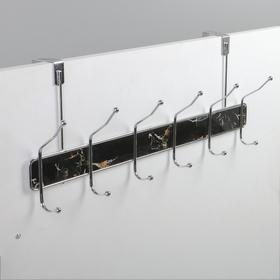 Вешалка надверная на 6 двойных крючка «Мрамор чёрный», 51,5×22,5×6 см, цвет хром - фото 4641435