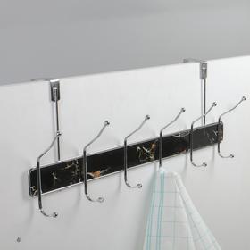 Вешалка надверная на 6 двойных крючка «Мрамор чёрный», 51,5×22,5×6 см, цвет хром - фото 4641436
