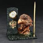 "A written set of ""heads"" with clock and pen, 10х15х15 cm, serpentine, gypsum"