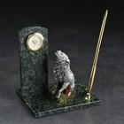 "Written set of ""the Wolf"", with clock and pen, 10х15х10 cm, serpentine, gypsum"