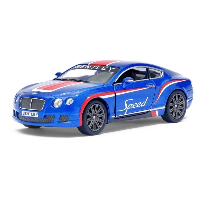 Машина металлическая Bentley Continental GT Speed, 1:38, открываются двери, инерция, цвет синий - фото 105651527
