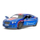 Машина металлическая Bentley Continental GT Speed, 1:38, открываются двери, инерция, цвет синий - фото 105651530