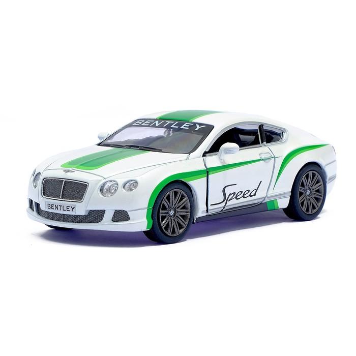 Машина металлическая Bentley Continental GT Speed, 1:38, открываются двери, инерция, цвет белый - фото 105651534
