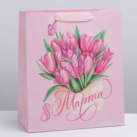 "The package laminated vertical ""Tulips on March 8"", ML, 23 × 27 × 8 cm"