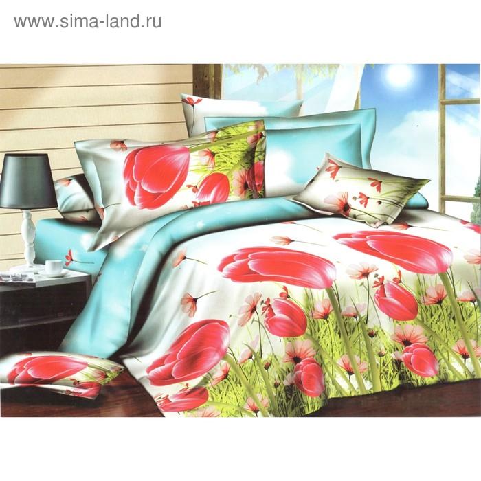 """Постельное бельё """"Этель престиж"""" евро Алые тюльпаны 200*220 см, 220*240 см, 50*70 + 5 см - 2"""