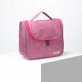 Cosmetic bag-Travel bag 24*11*22, otd zipper, with hook, pink