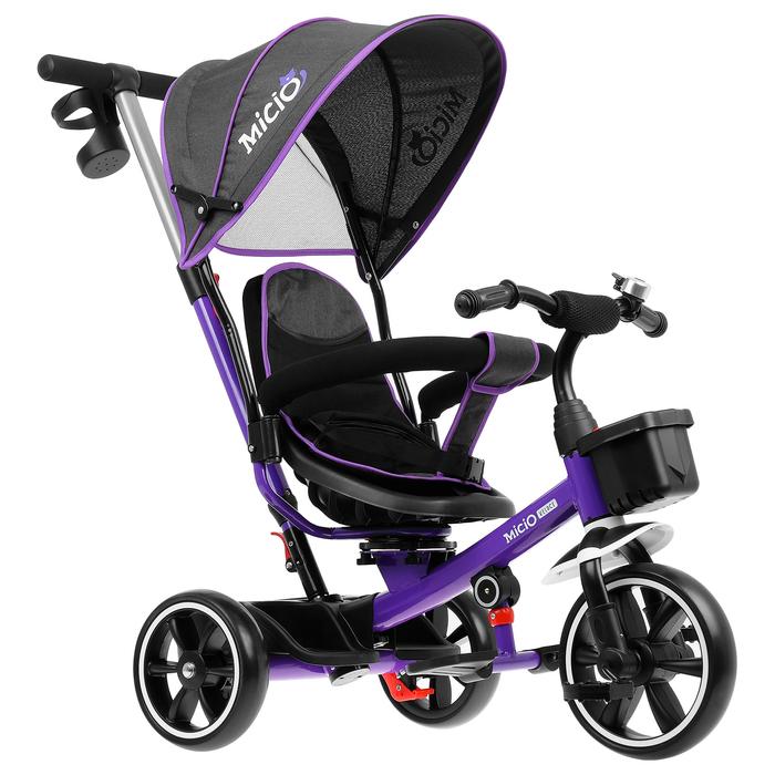 """Велосипед трехколесный Micio Veloce, колеса EVA 10""""/8"""", цвет фиолетовый"""