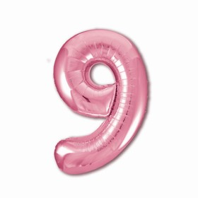 "Шар фольгированный 40"" «Цифра 9», цвет фламинго Slim"