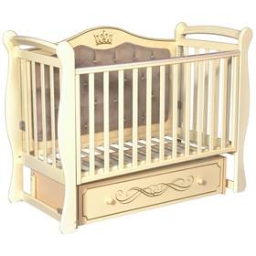 Детская кровать Olivia-1, мягкая спинка, ящик, универсальный маятник, цвет слоновая кость