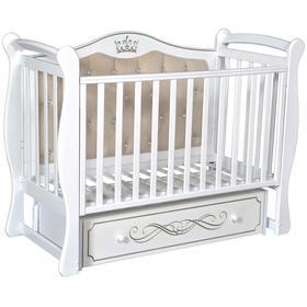 Детская кровать Olivia-1, мягкая спинка, ящик, универсальный маятник, цвет белый