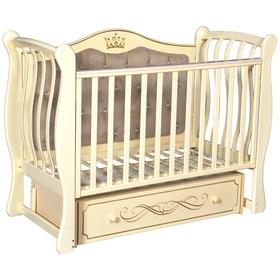 Детская кровать Olivia-2, мягкая спинка, ящик, универсальный маятник, цвет слоновая кость