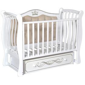 Детская кровать Olivia-2, мягкая спинка, ящик, универсальный маятник, цвет белый