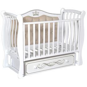 Детская кровать Brianna Elegance, мягкая спинка, ящик, универсальный маятник, цвет белый