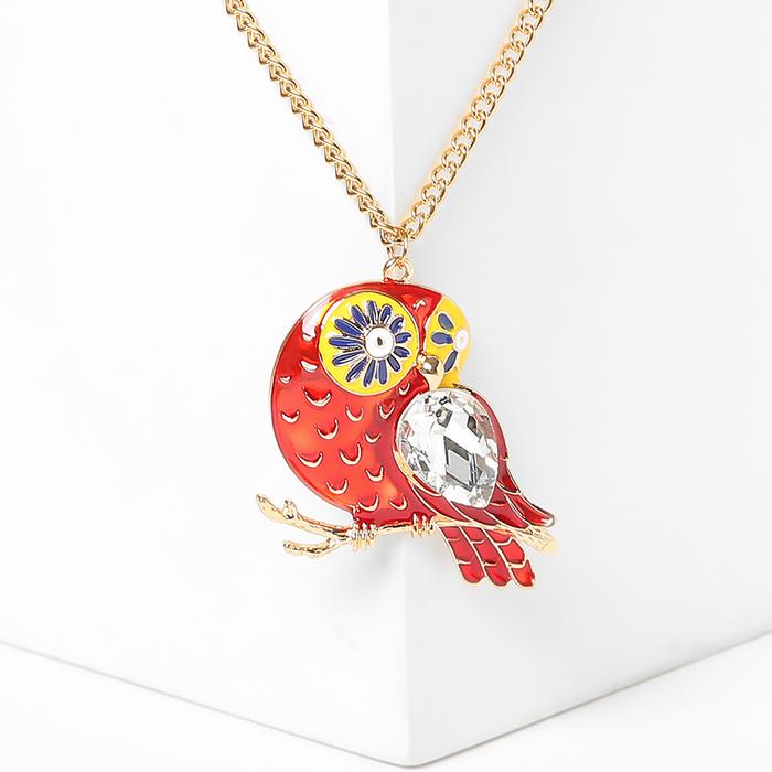 """Кулон """"Птичка"""" с белым крылом, цветной в золоте, 65см"""