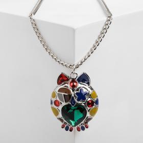 """Кулон """"Сова"""", разноцветный в серебре, 65см Y59986"""