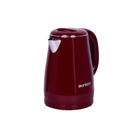 Чайник электрический Oursson, 2200 Вт, объём 1.5 л, пластик/нержавеющая сталь, цвет бордовый