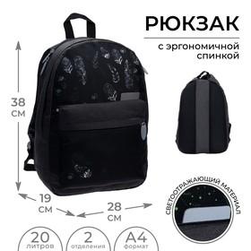 Рюкзак молодёжный, Calligrata, 38 х 28 х 19 см, эргономичная спинка, «Листья»