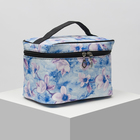 Beautician-chest Flowers,21,5*15*14 the division zipper, mirror, blue