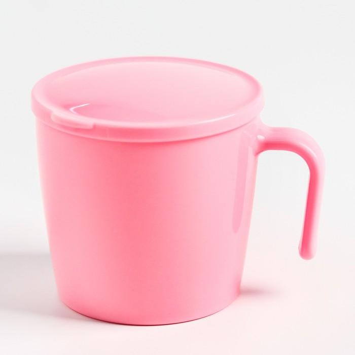 Кружка детская с крышкой, 250 мл., цвет розовый - фото 105460914