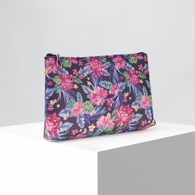 Cosmetic bag, simple Flowers, 20*3*12 the division zipper, black