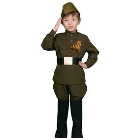 Карнавальный костюм «Солдатик», гимнастёрка, ремень, галифе, сапоги, пилотка, рост 140-146 см