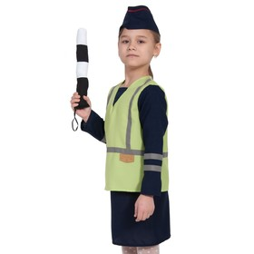 Карнавальный костюм «Полицейская», куртка, юбка, кепка, жезл, рост 128-134 см
