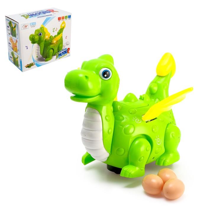 Динозавр «Дракончик» работает от батареек, откладывает яйца, световые и звуковые эффекты, цвета МИКС - фото 105499891