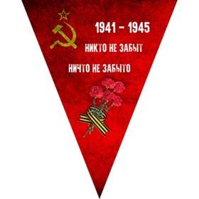 Вымпел треугольный с бахромой к 9 мая «Победа одна на всех» Орден победы, 200х250 мм, цветной, Skyway