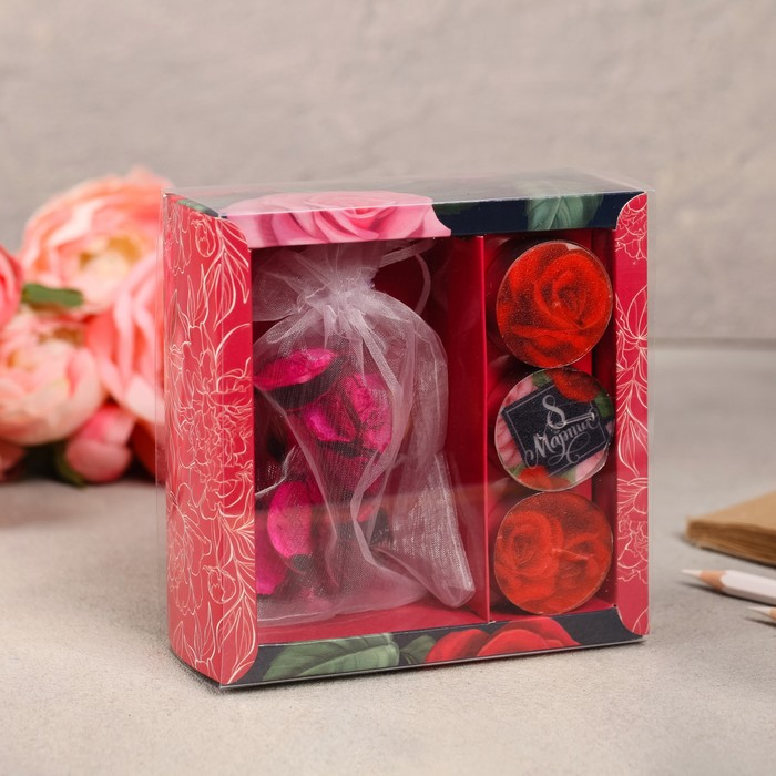 Набор подарочный «Цветочки»: аромасаше, свечи - фото 486975