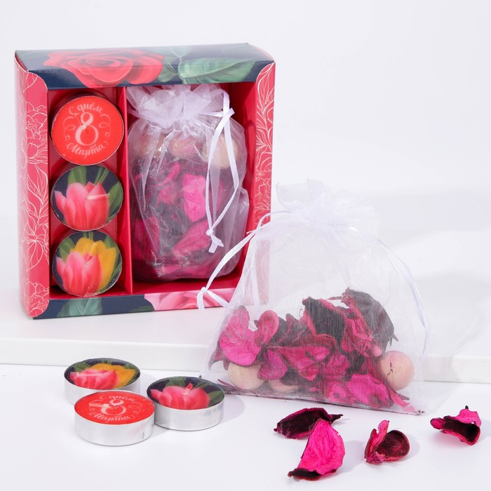 Набор подарочный «Тюльпаны»: аромасаше, свечи - фото 486985