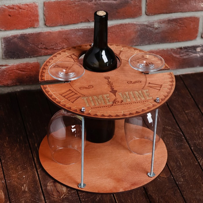 "Подставка под вино и бокалы ""Часы"", 28,4 х 28,4 см."