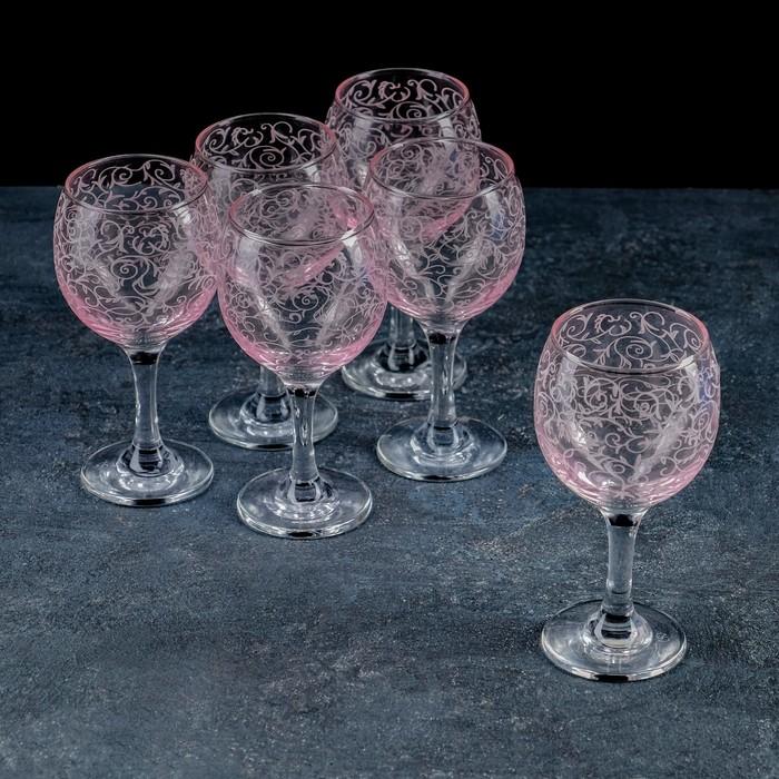 Набор фужеров «Лиана», 260 мл, 6 шт, нацвет, гравировка, цвет розовый