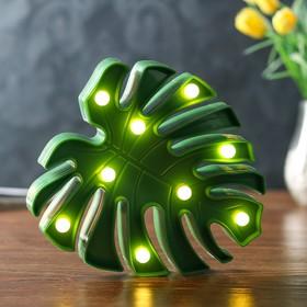 "Ночник ""Лист"" 9хLED батарейки 2АА зеленый 18х3х20 см"