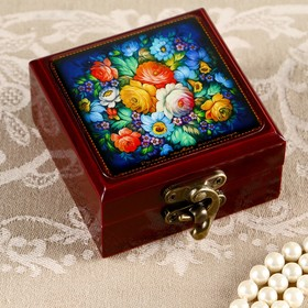 Шкатулка «Цветы на голубом», 8х8 см