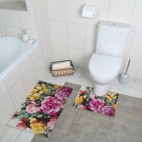 Набор ковриков для ванны и туалета «Акварель пионы», 2 шт: 40×50, 50×80 см