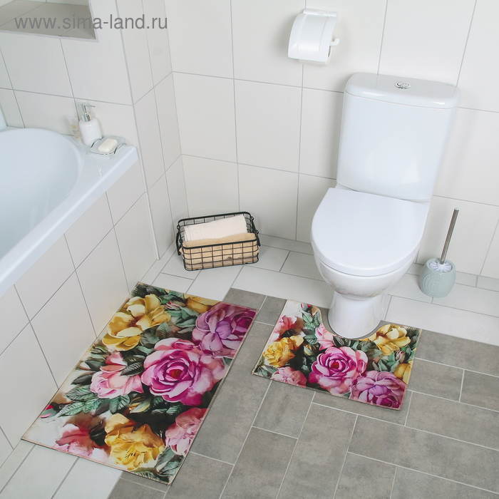 "Set of floor mats for the bath and toilet 2 PCs 40x50, 50х89 cm ""Watercolor peonies"""