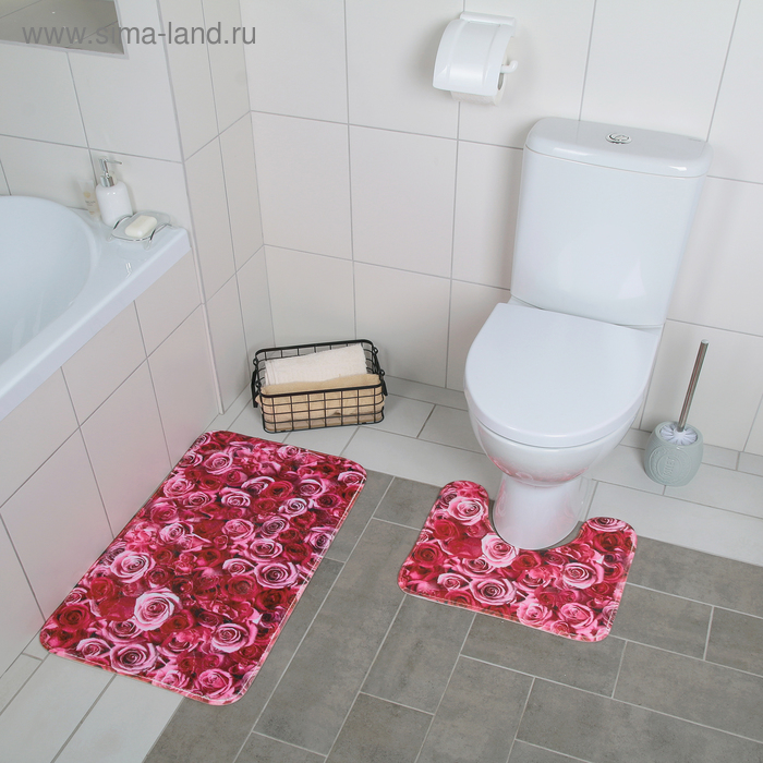 """Set of floor mats for the bath and toilet 2 piece is 40x45 cm, 45х75 cm """"Roses"""""""